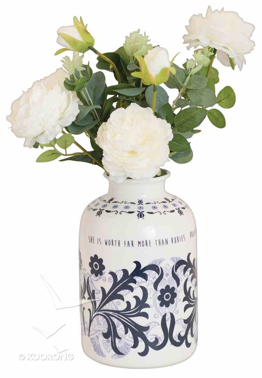 Ceramic Vase Incl Flowers: Proverbs 31, Blue/White Homeware