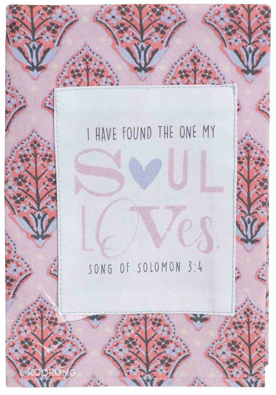 Cotton Tea Towel Love Collection: Soul Loves, Pink/Grey (Song Of Solomon 3:4) Homeware