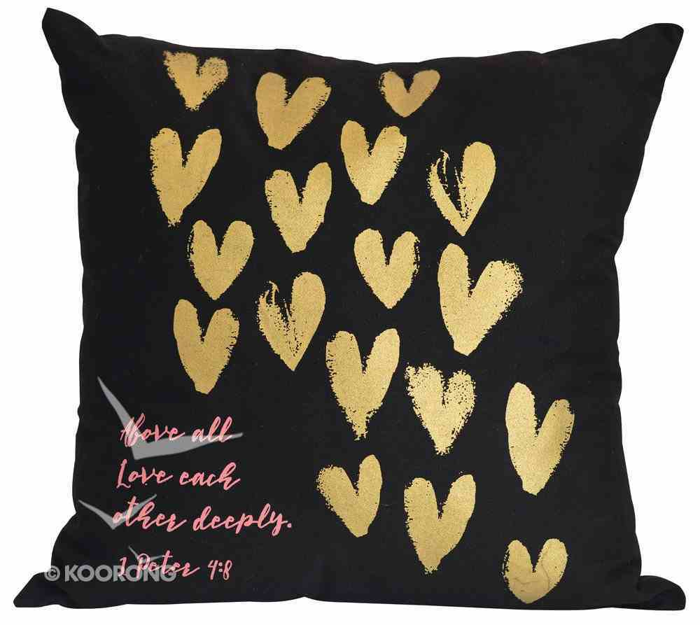 Love Collection Pillow: Love Each Other, Black With Gold Hearts Soft Goods