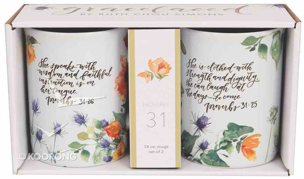 Ceramic Mugs: Gracelaced, White/Floral (Proverbs 31:25-26) (Set Of 2) Homeware