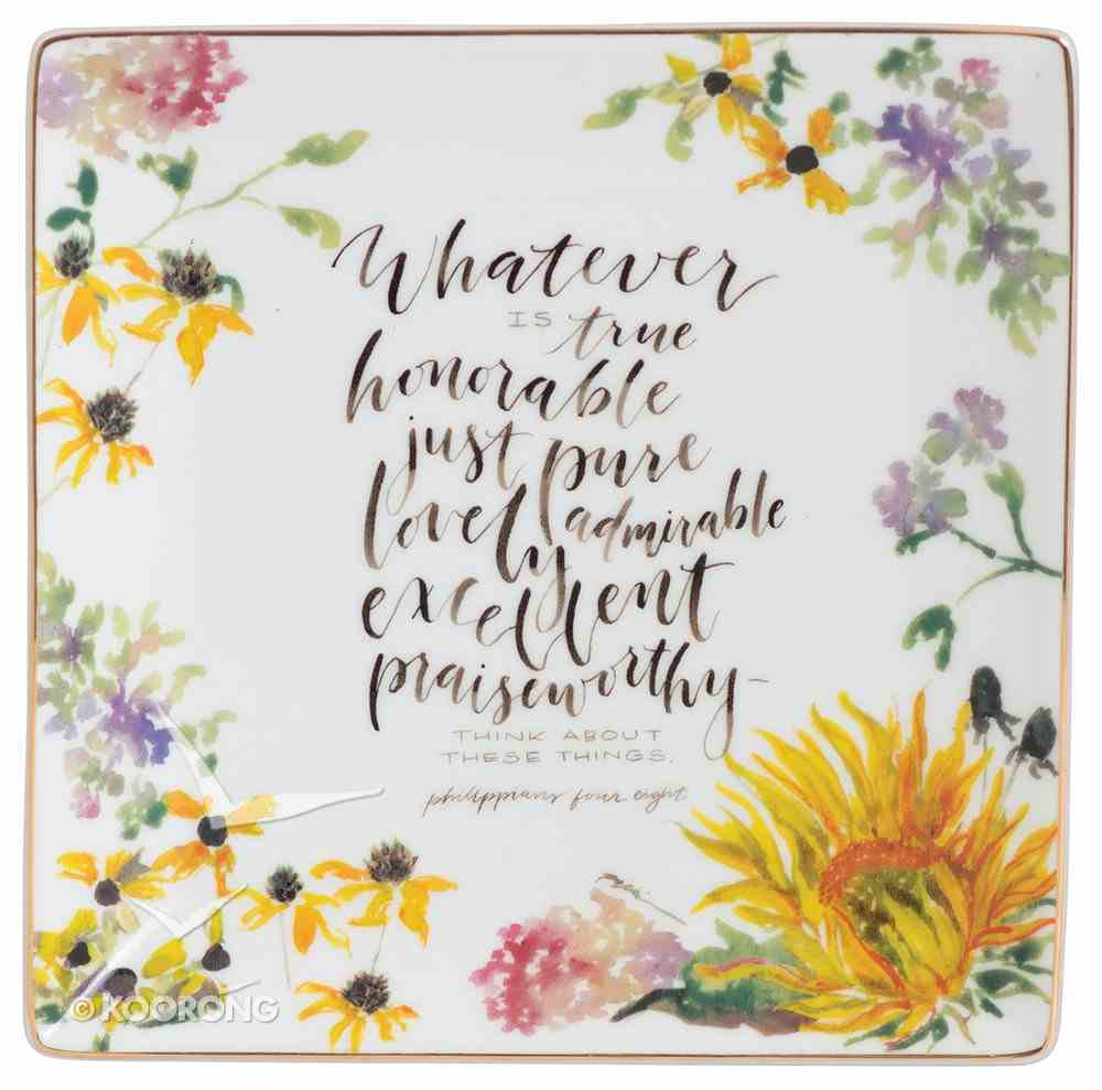 Gracelaced Ceramic Trinket Tray: Whatever is True, White/Country Floral Homeware
