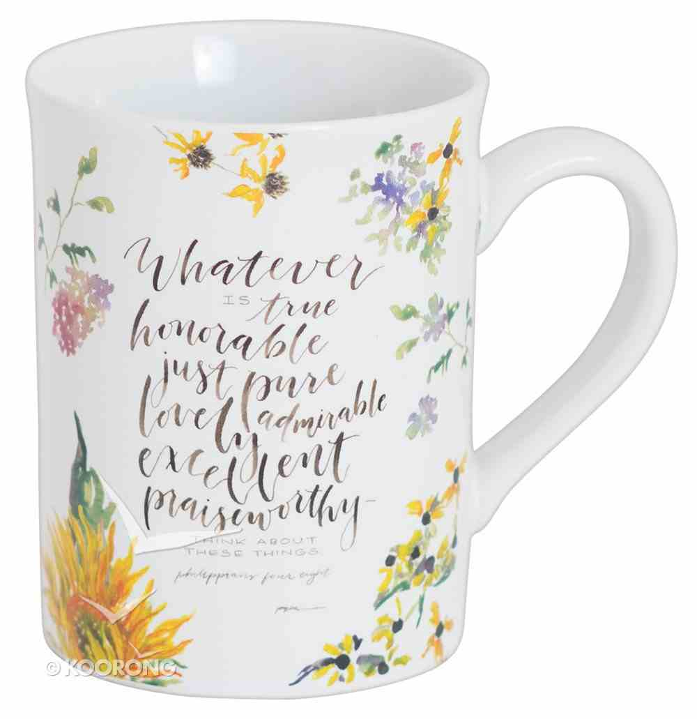 Gracelaced Ceramic Mug: Whatever is True, White/Country Floral Homeware