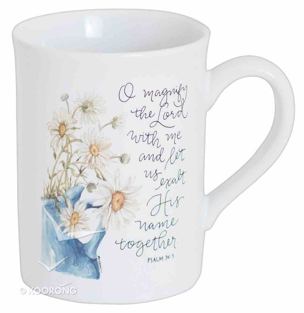 Gracelaced Ceramic Mug: Magnify the Lord, Cream/Sunflowers in Blue Vase Homeware