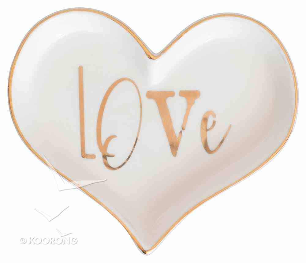 Love Collection Trinket Tray: Love Heart Shaped, White/Gold Edge Homeware