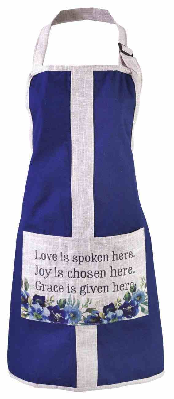 Apron: Love Joy Grace, Blue Bib Apron With Large Pocket, Adjustable Neck Strap (Love Joy Grace Collection) Soft Goods