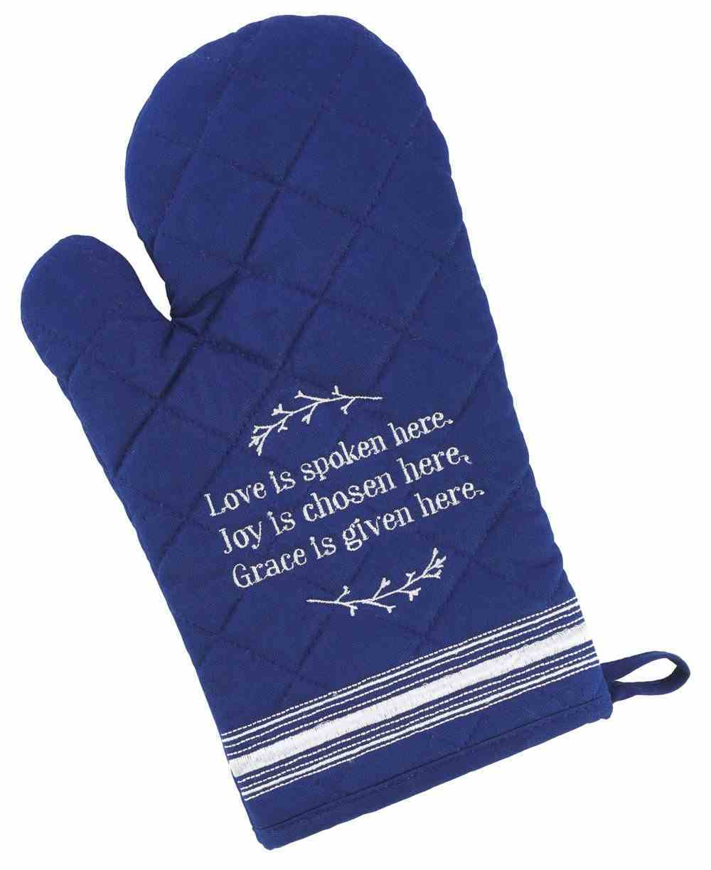 Quilted Oven Mitt: Love Joy Grace, Navy/ White (Love Joy Grace Collection) Soft Goods