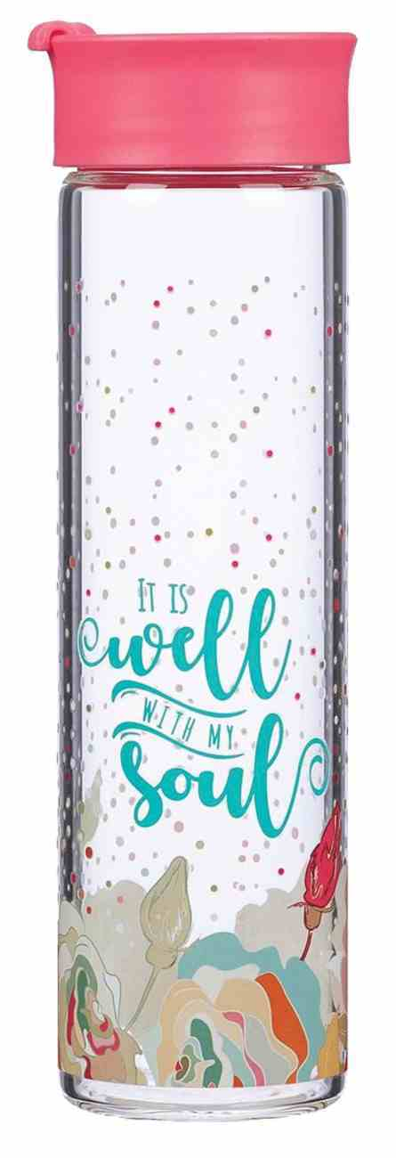 Water Bottle Clear Glass: It is Well, Coral (Well With My Soul Collection) Homeware