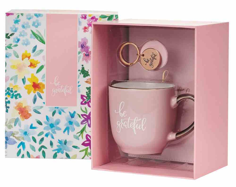 Boxed Gift Set: Be Grateful Journal, Keyring and Ceramic Mug Pink (296ml) Pack