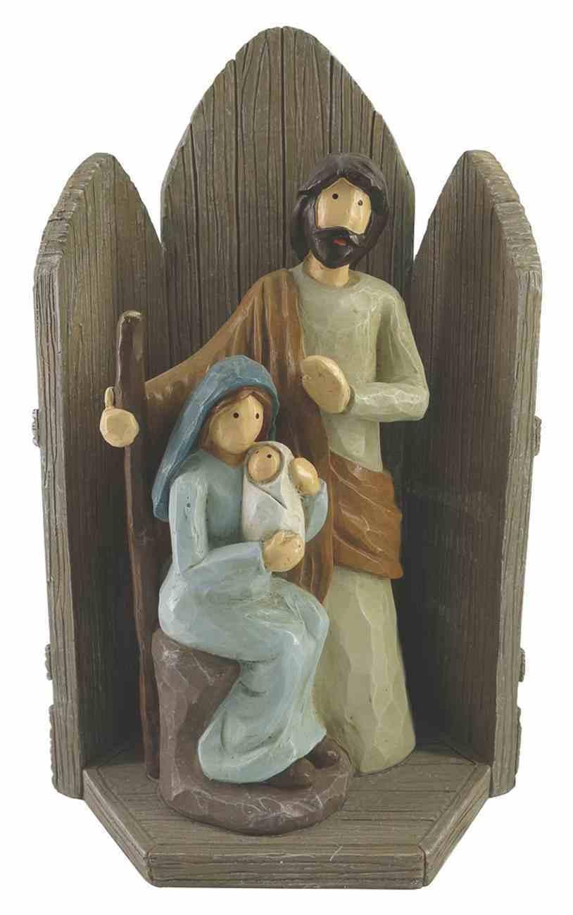 Resin Wood Look Nativity Set: Mary, Joseph, Baby Jesus Homeware
