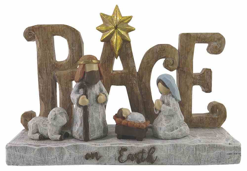 Resin Wood Look Ornament: Peace on Earth Holy Family Homeware