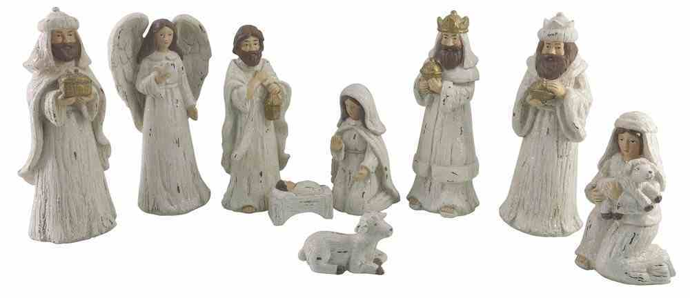 Resin White Wood Look Nativity Decor Set of 9 Homeware