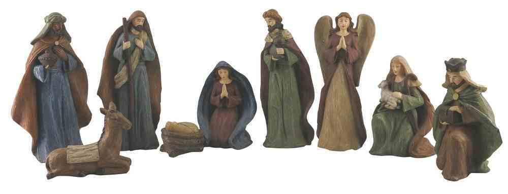 Resin Wood Look Nativity Decor Set of 9 Homeware