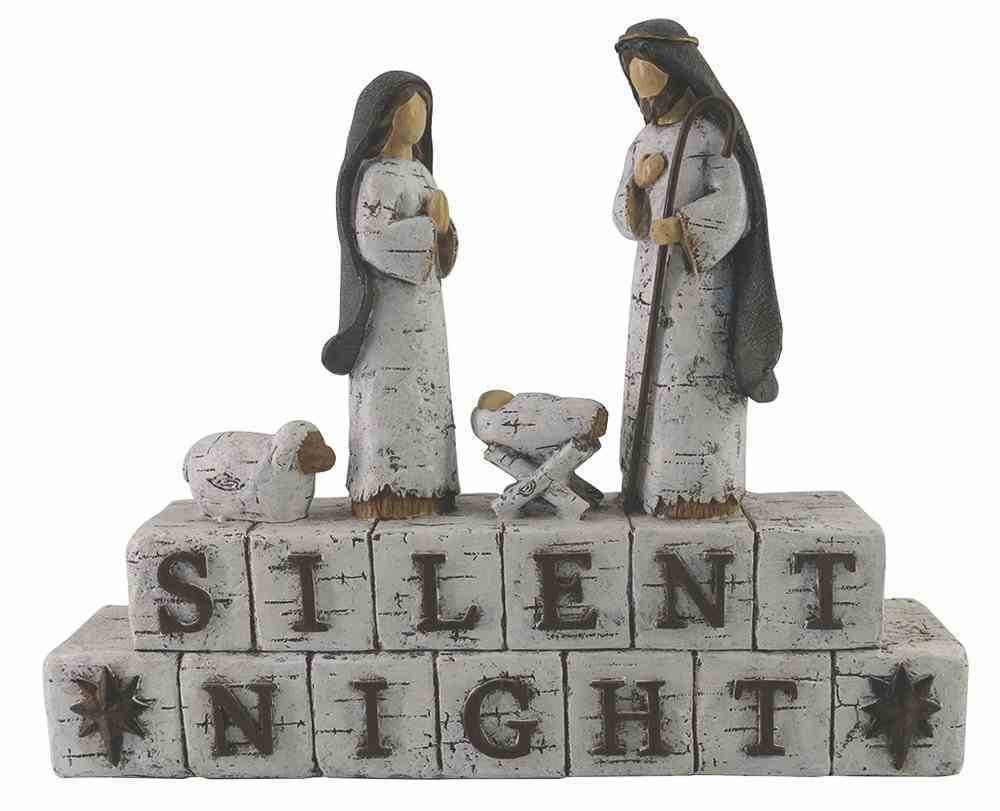 Resin Birch Bark Finish 'Silent Night' With Holy Family Homeware