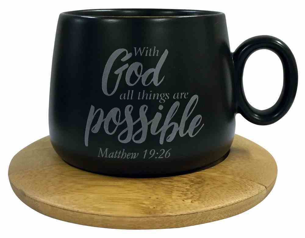 Mug With Coaster: With God All Things Are Possible, Matthew 19:26, Black Homeware