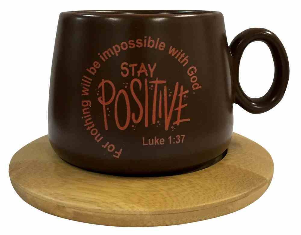 Mug With Coaster: For Nothing Will Be Impossible With God, Luke 1:37, Burgundy Homeware