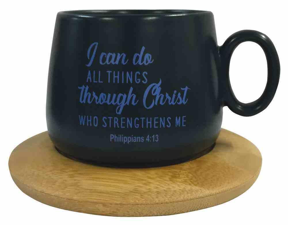 Mug With Coaster: I Can Do All Things, Philippians 4:13, Aqua Homeware