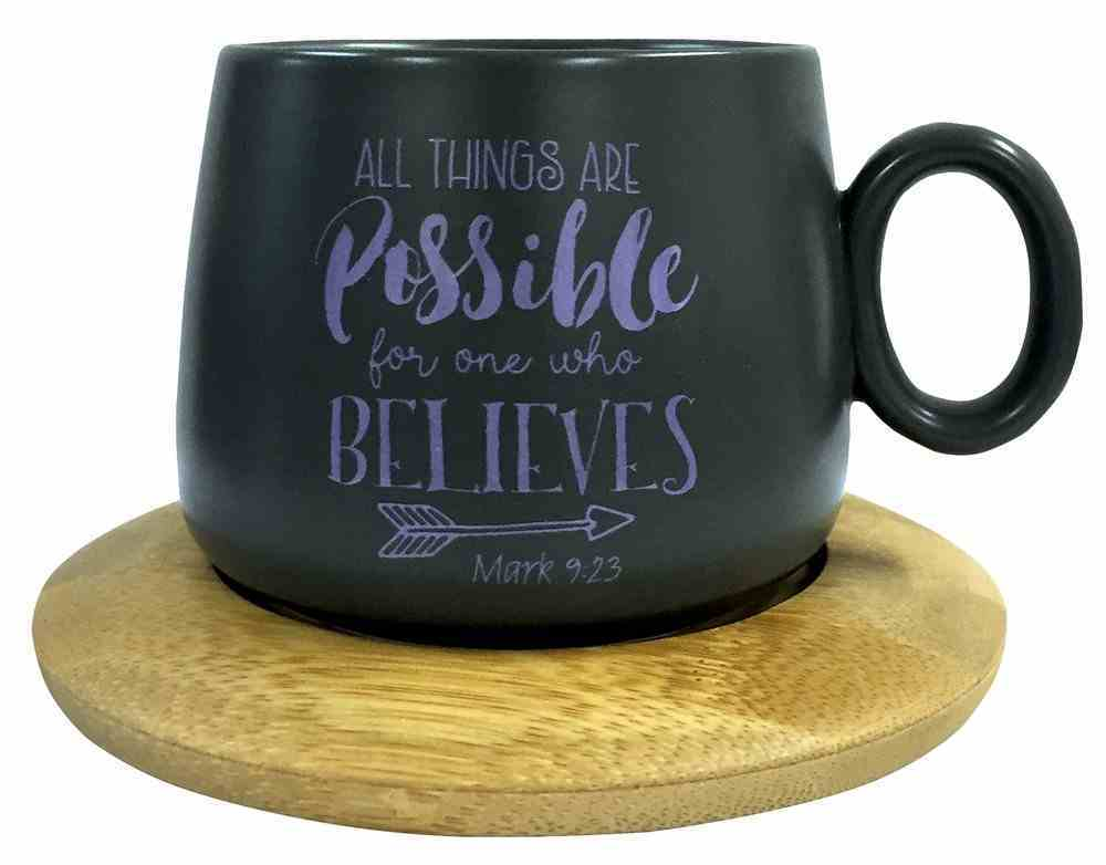 Mug With Coaster: All Things Are Possible, Mark 9:23, Violet Homeware
