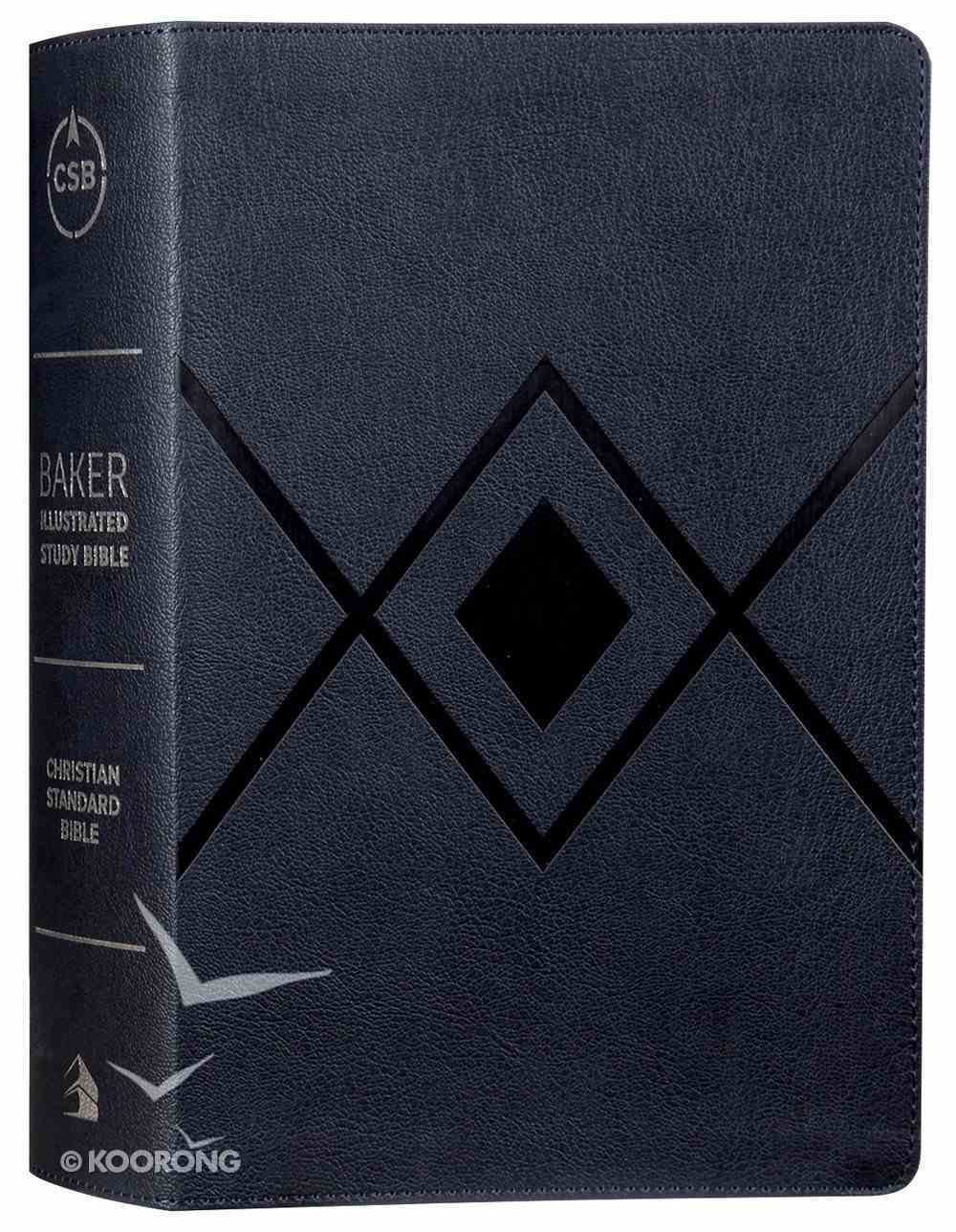 CSB Baker Illustrated Study Bible Navy Diamond Design (Red Letter Edition) Imitation Leather