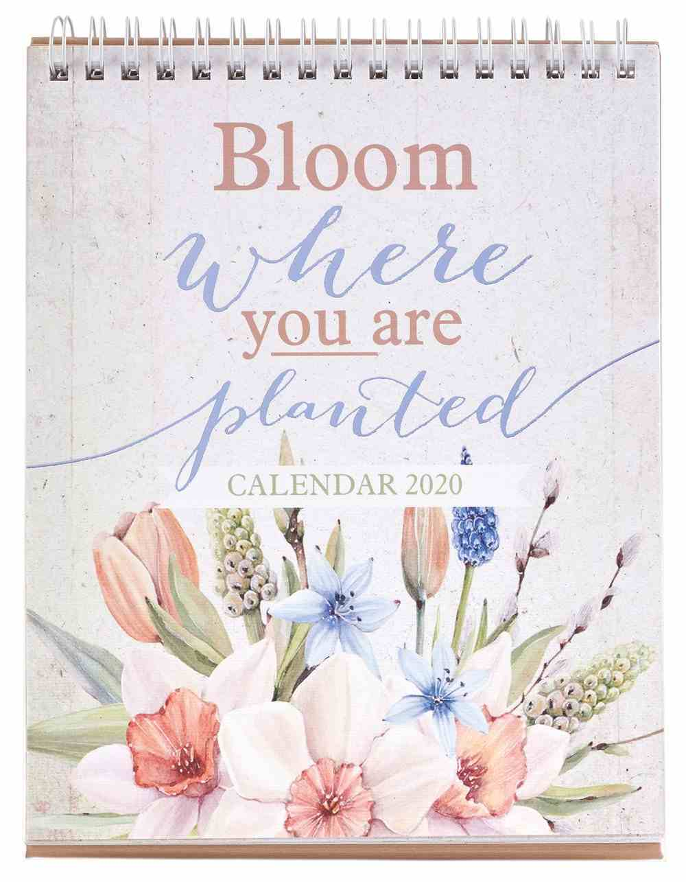 2020 12-Month Small Desktop Calendar: Bloom Where You Are Planted Spiral