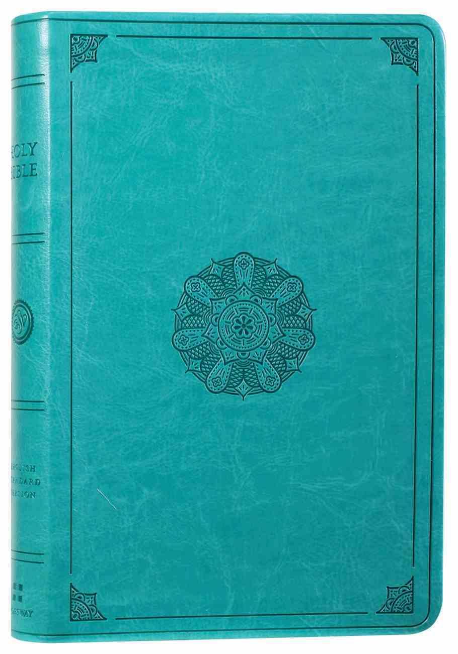 ESV Large Print Value Thinline Bible Turquoise Emblem Design Imitation Leather