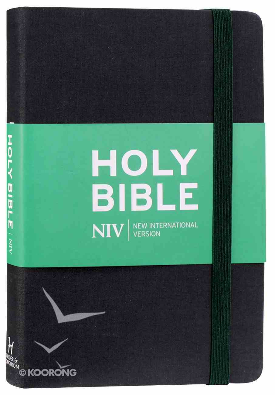NIV Thinline Bible Black With Elastic Strap Hardback
