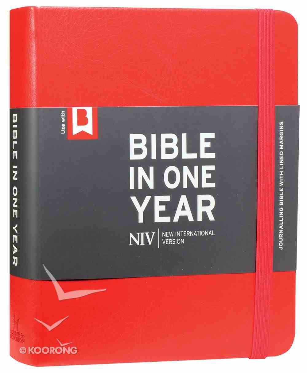 NIV Journalling Bible in One Year Red With Elastic Closure Hardback