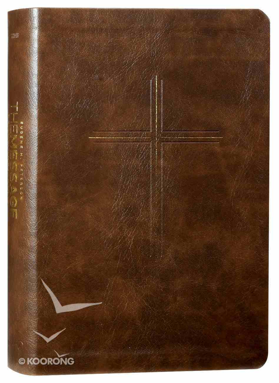 Message Devotional Bible Brown Cross (Black Letter Edition) Imitation Leather