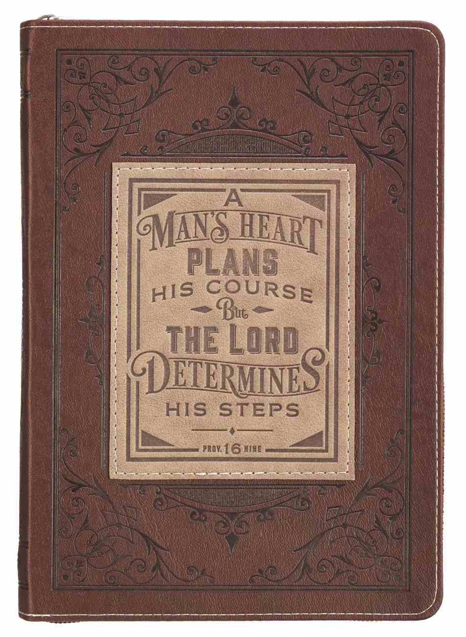 Journal With Zip Closure a Man's Heart, Brown (Prov 16: 9) (A Man's Heart Collection) Imitation Leather