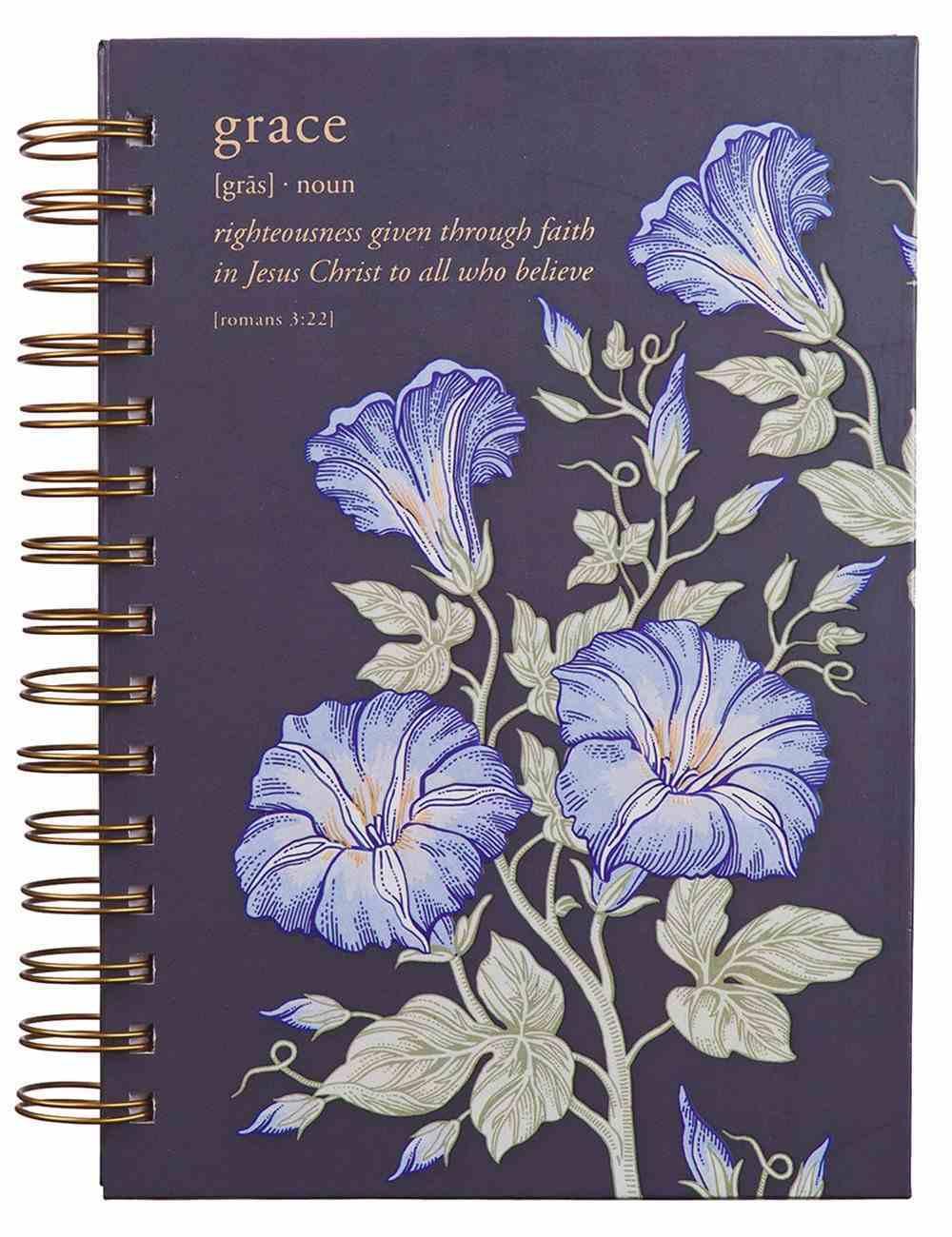 Journal: Grace, Navy Floral Spiral