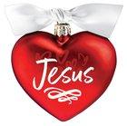 Christmas Glass Ornament Heart Shape: Jesus, For God So Loved the World Homeware