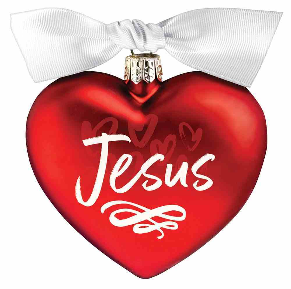 Christmas Glass Ornament Heart Shape: Jesus, For God So Loved the World Homeware