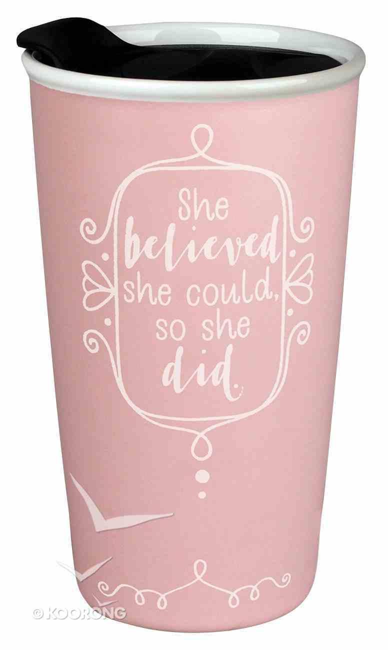 Ceramic Tumbler Mug: Affirmed She Believed, Light Pink/White (Phil 4:13) Homeware