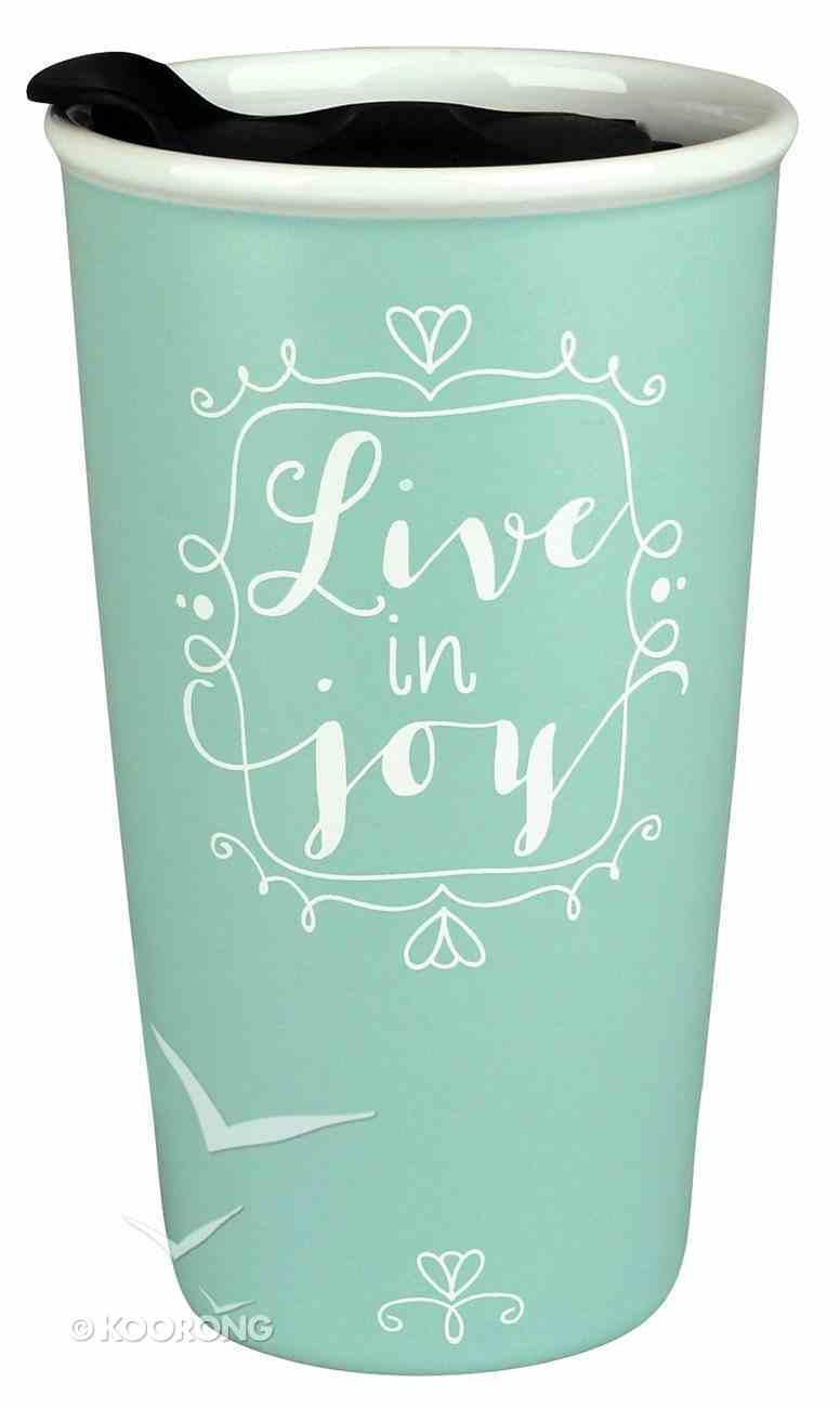 Ceramic Tumbler Mug: Affirmed Live in Joy, Light Blue/White (John 15:11) Homeware