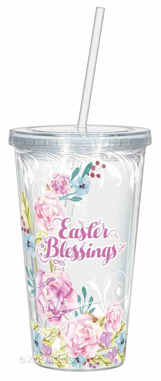 Clear Straw Cup: Easter Blessings, Pink Floral Watercolours Homeware