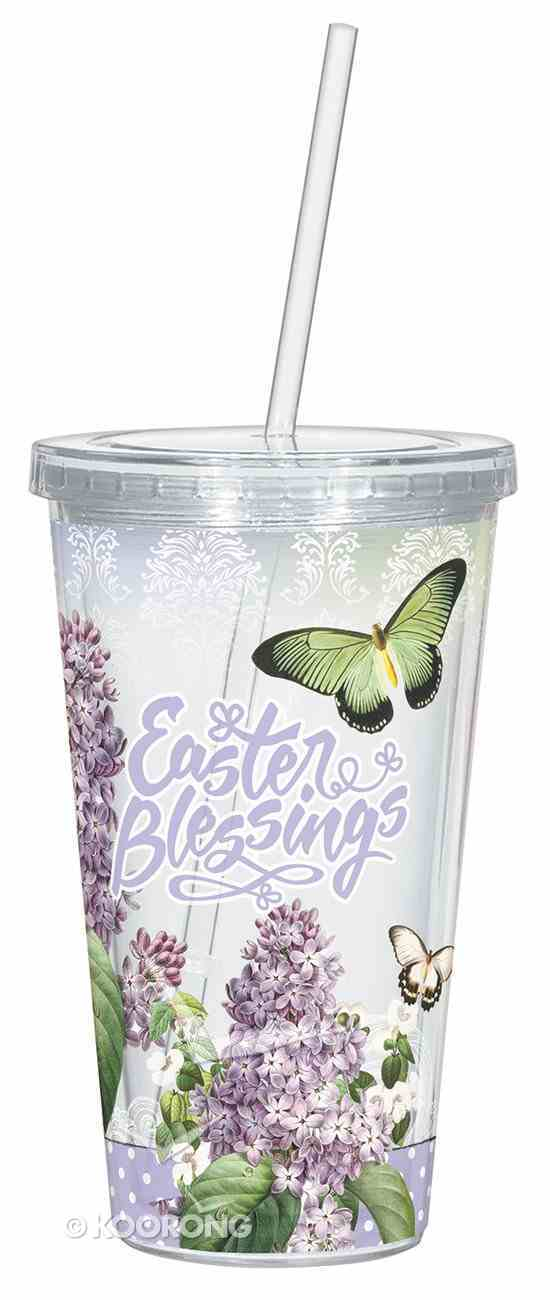 Clear Straw Cup: Easter Blessings, Green Butterfly/Purple Lavender Homeware