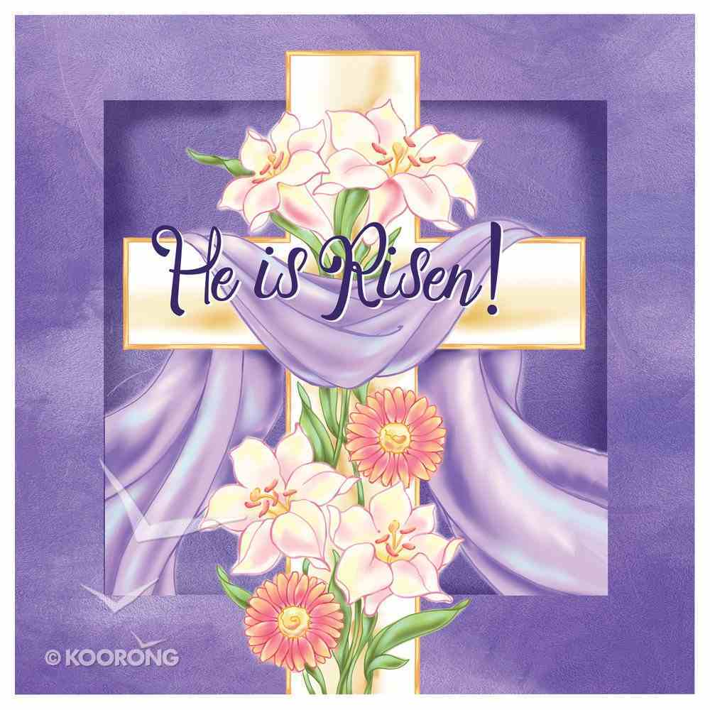 Easter Napkins: He is Risen! Cross W/Purple Cloth Draped Over It Homeware