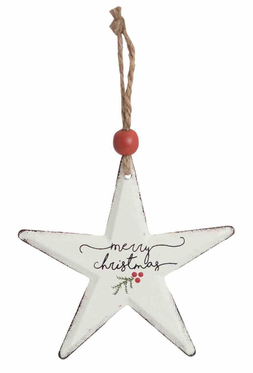 Christmas Metal Star Tree Ornament: Merry Christmas Homeware
