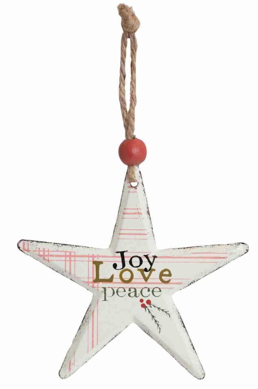 Christmas Metal Star Tree Ornament: Joy Love Peace Homeware