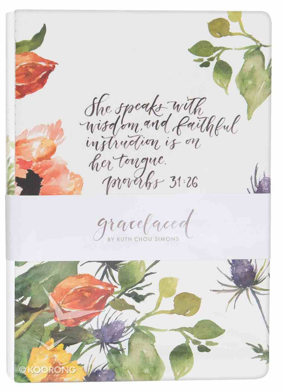 Gracelaced Journal Set of 2: White/Floral (Proverbs 31:25-26) Stationery