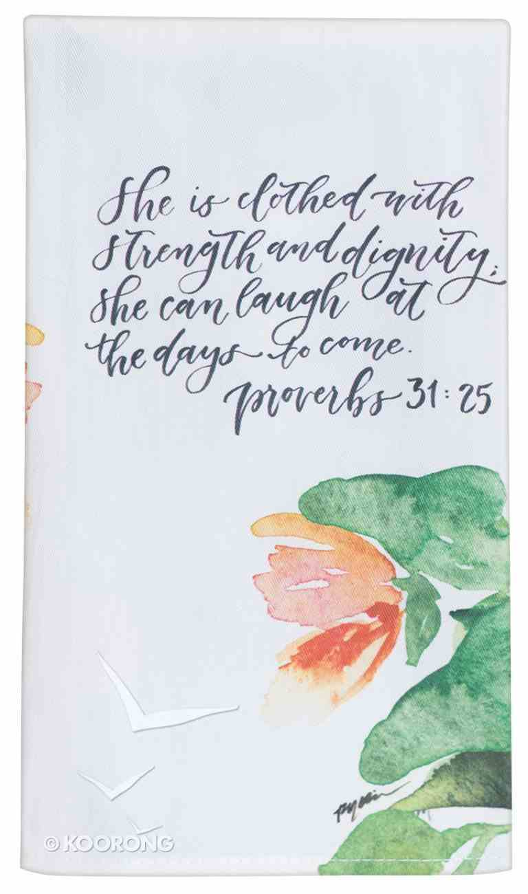Gracelaced Cotton Tea Towel: White/Floral (Proverbs 31:35) Homeware