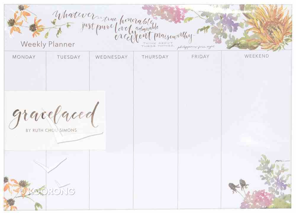 Gracelaced Weekly Planner: Whatever is True, White/Country Floral Stationery