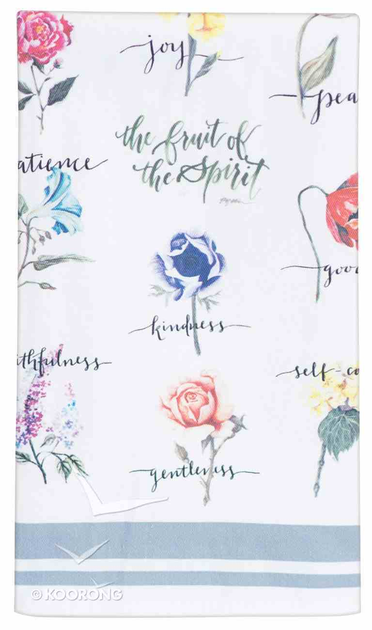Fruit of the Spirit Cotton Tea Towel: White/Flowers Homeware