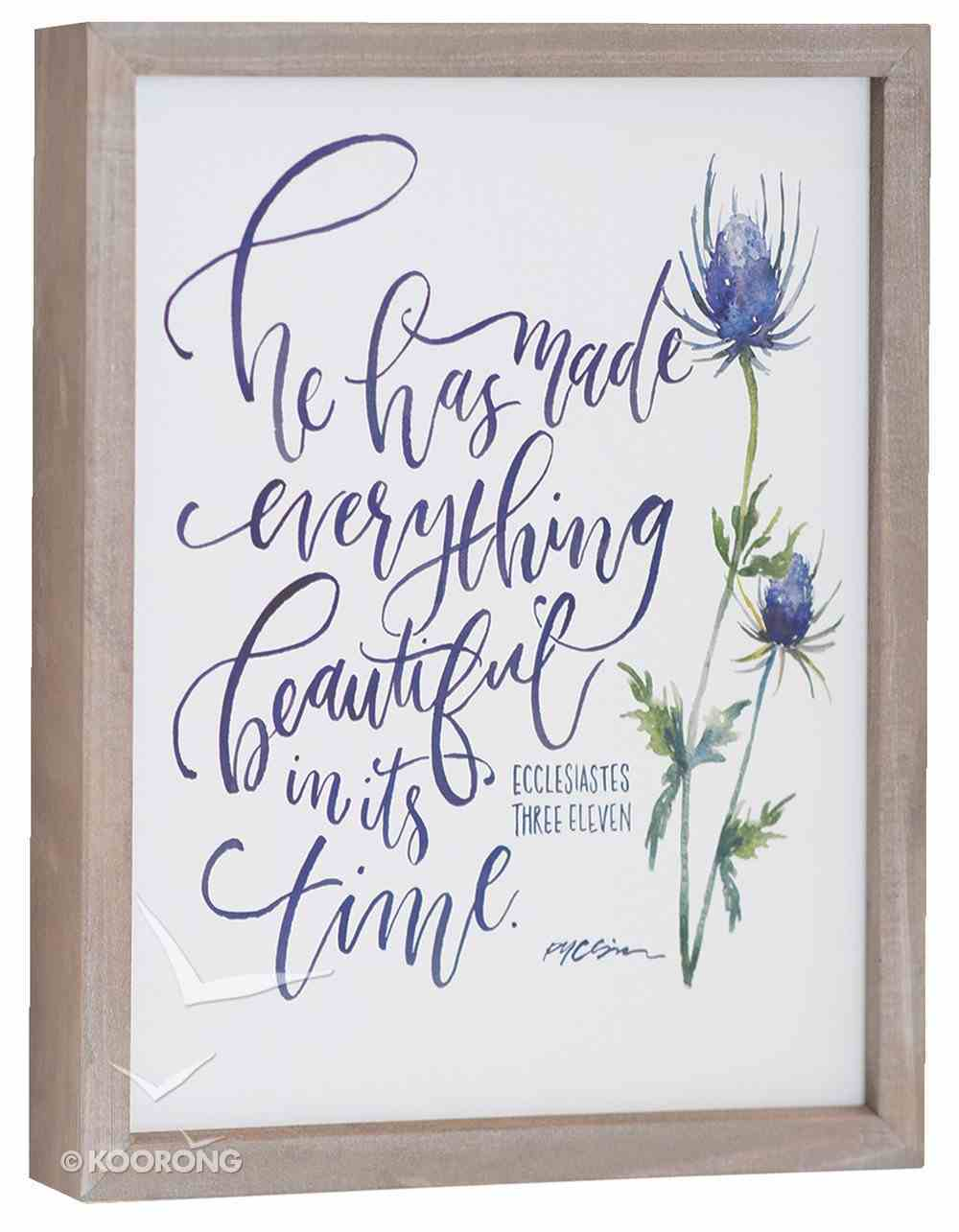 Gracelaced Polyresin Framed Art: Everything Beautiful, White/Blue Flower Plaque