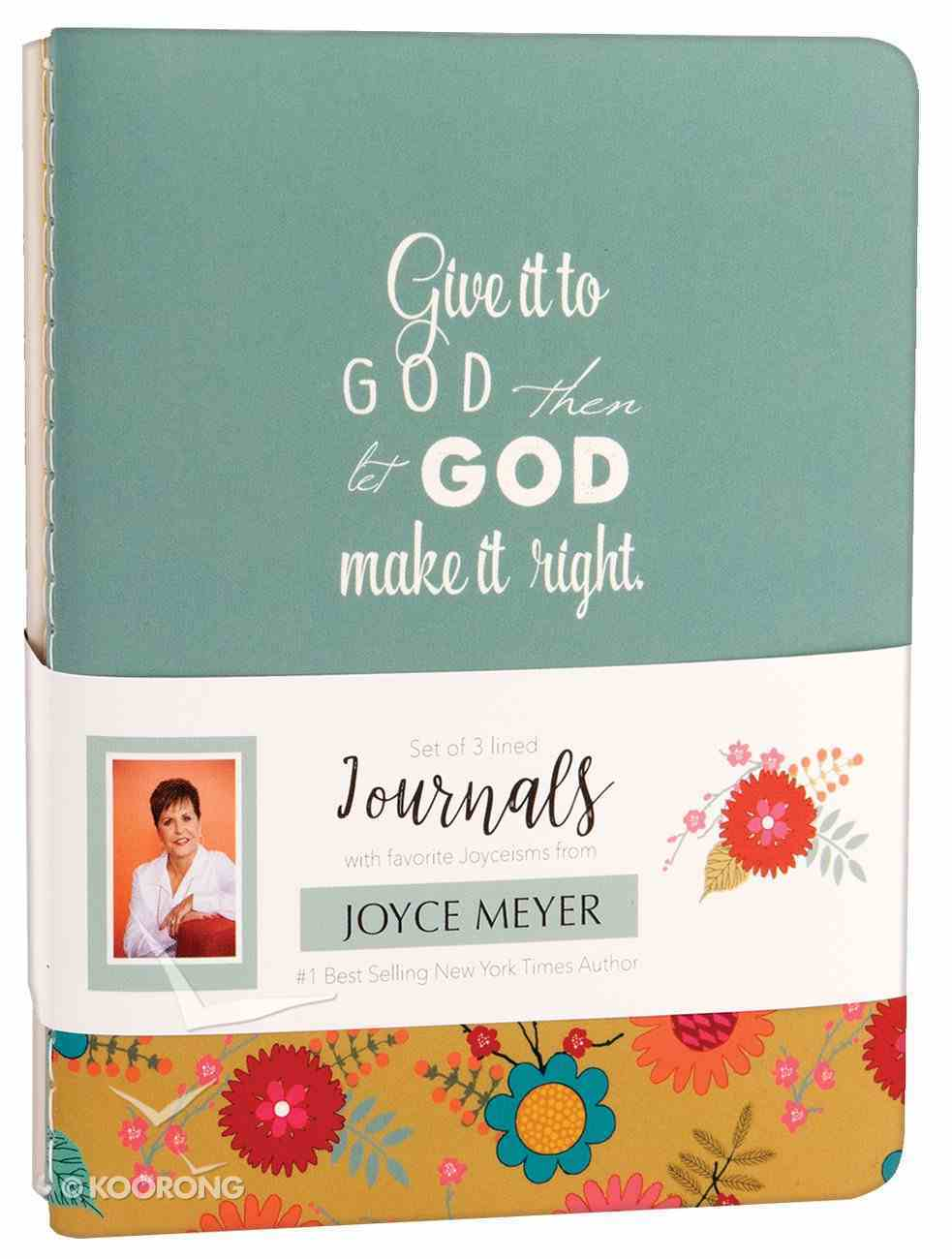 Joyce Meyer Journal 3 Pack: Give It to God, Green/White/Yellow Floral Stationery
