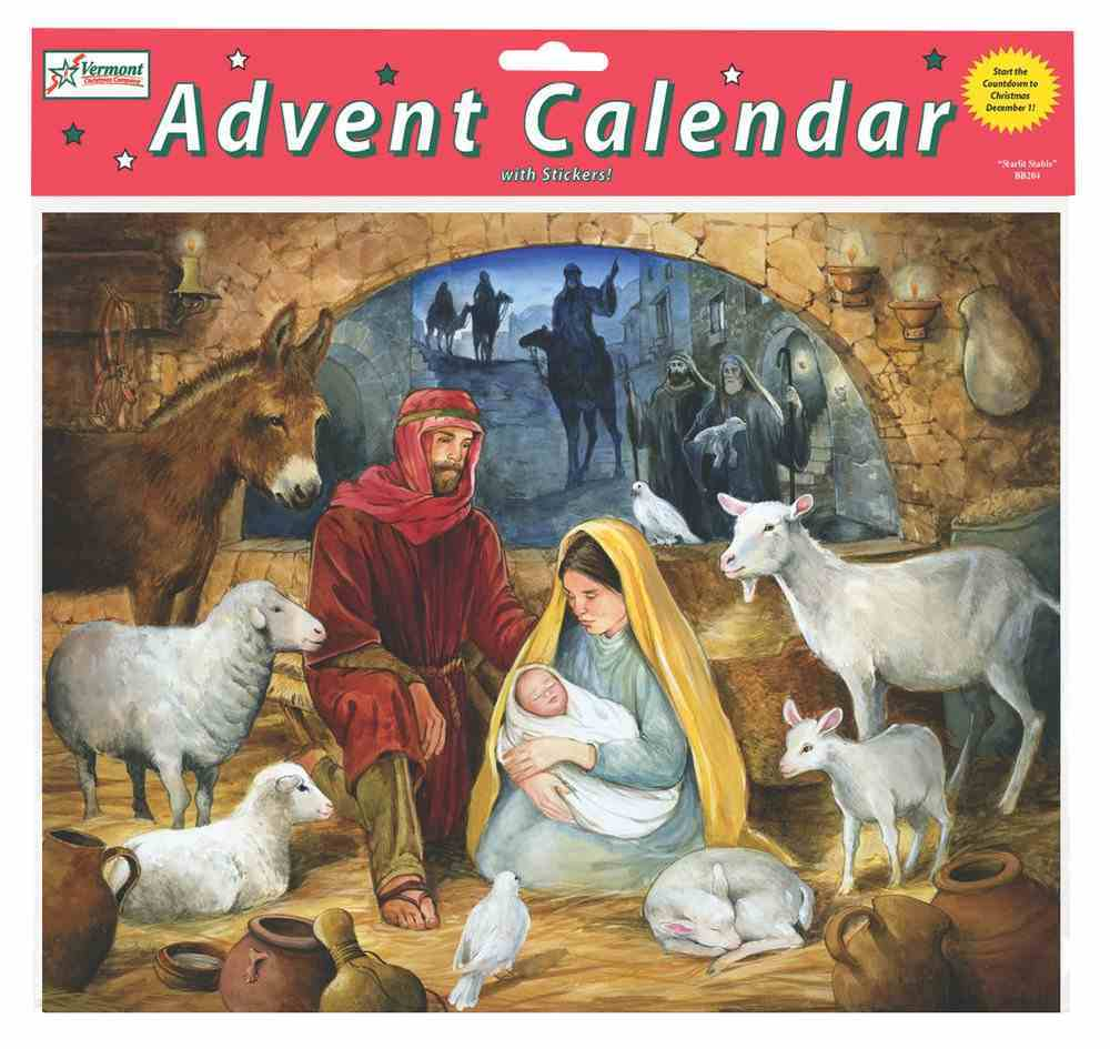 Advent Calendar: Emmanuel, Glitter, Bible Text Or Nativity Story on Back of Windows Calendar