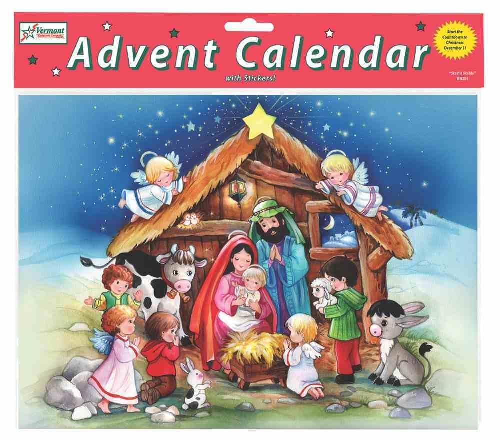 Advent Calendar: The Crib, Glitter, Bible Text Or Nativity Story on Back of Windows Calendar