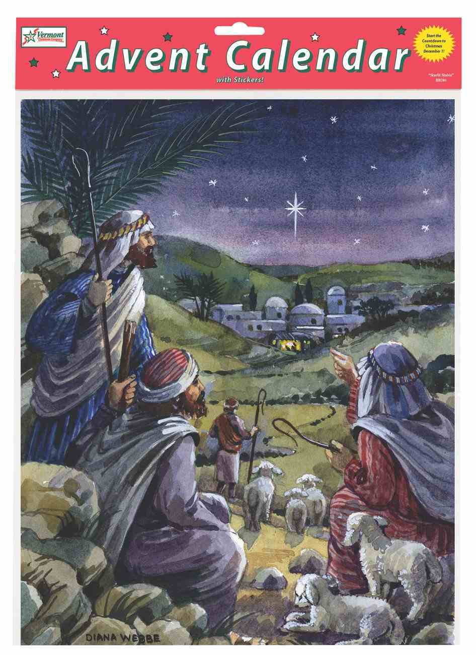 Advent Calendar: Yonder Star, Glitter, Bible Text on Back of Windows Calendar