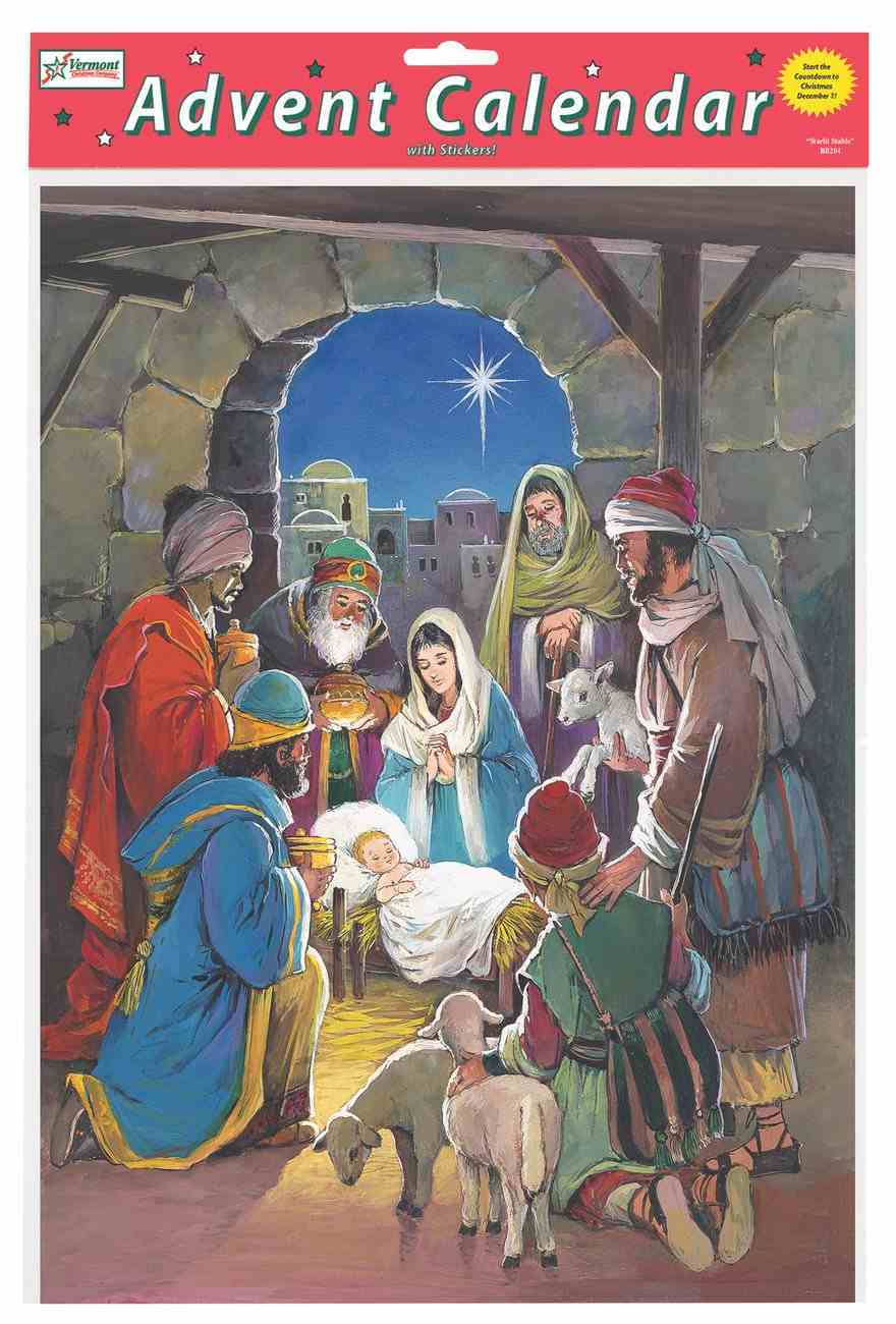 Advent Calendar: Savior's Light Manger Scene, Glitter, Bible Text on Back of Windows Calendar