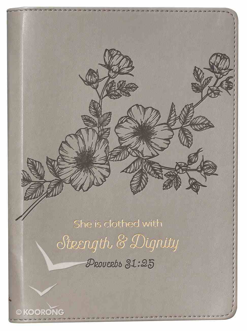 Journal: Strength & Dignity Flower Design/Gold Etching, Slimline (Proverbs 31:25) Imitation Leather