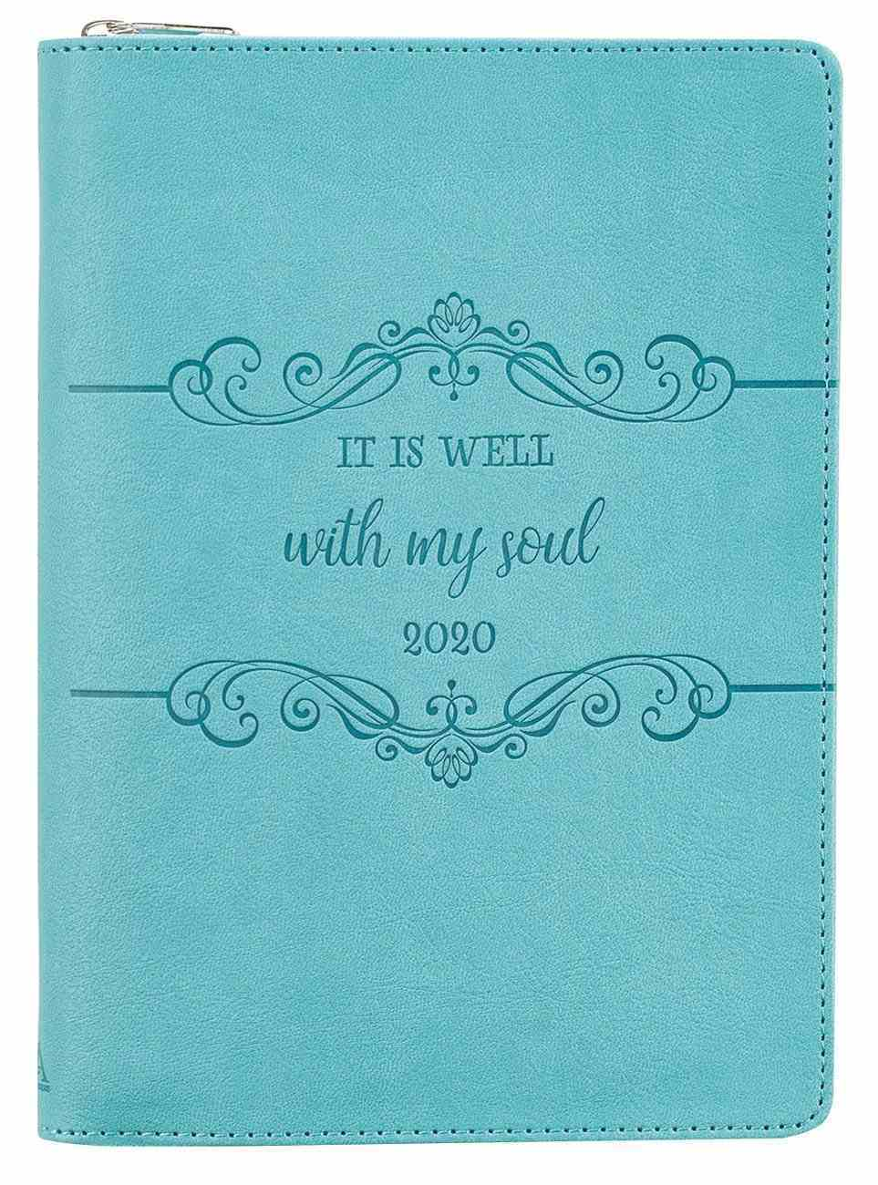 2020 Executive 12-Month Diary/Planner: It is Well With My Soul, Blue/Embossed Design Imitation Leather